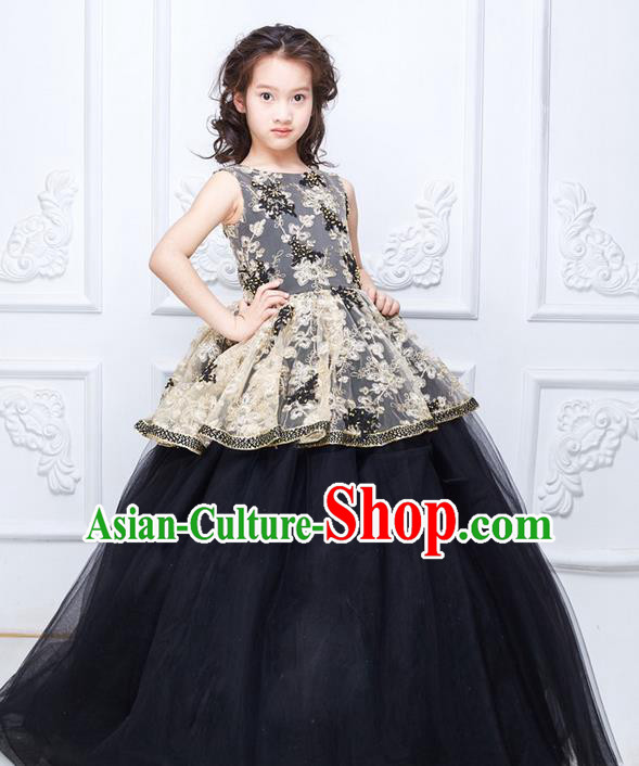 Top Grade Compere Professional Performance Catwalks Costume, Children Chorus Black Bubble Full Dress With Wings Modern Dance Baby Princess Modern Fancywork Ball Gown Long Dress for Girls Kids