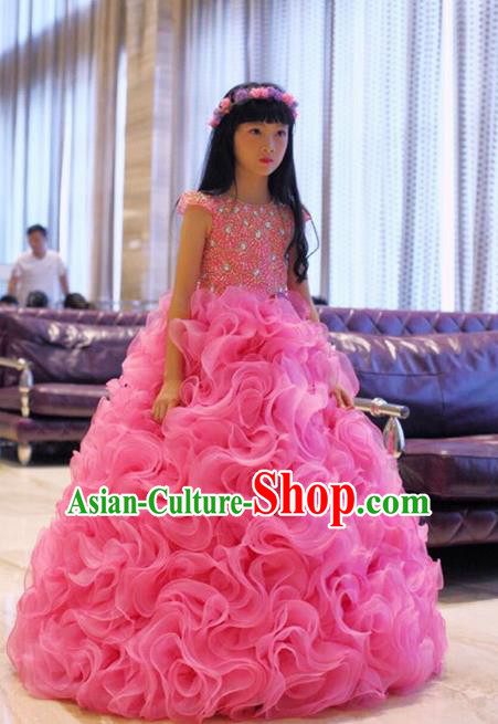 Top Grade Compere Professional Performance Catwalks Costume, Children Chorus Pink Full Dress Modern Dance Baby Princess Modern Fancywork Mermaid Long Bubble Dress for Girls Kids