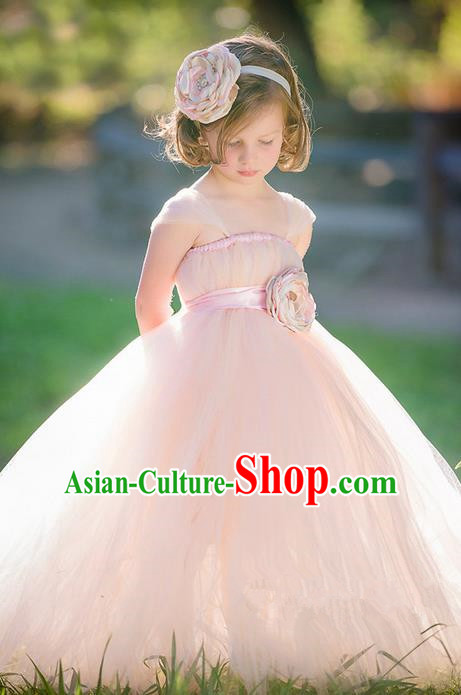 Top Grade Compere Professional Performance Catwalks Costume, Children Chorus Handmade Customize Pink Bubble Full Dress Modern Dance Baby Princess Modern Fancywork Ball Gown Dress for Girls Kids