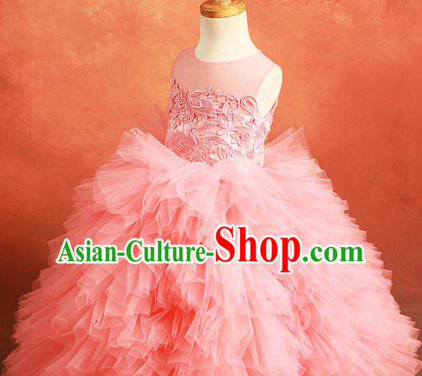 Top Grade Compere Professional Performance Catwalks Costume, Children Chorus Customize Pink Wedding Bubble Full Dress Modern Dance Baby Princess Modern Fancywork Ball Gown Short Dress for Girls Kids