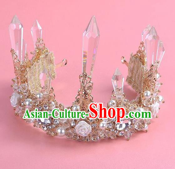 Top Grade Handmade Classical Hair Accessories, Children Baroque Style Pearl Crystal Princess Wedding Royal Crown Hair Jewellery Hair Clasp for Kids Girls