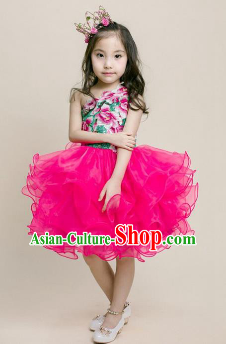Top Grade Compere Professional Performance Catwalks Costume, Children Chorus Pink Bubble Formal Dress Modern Dance Baby Princess Modern Fancywork Dress for Girls Kids