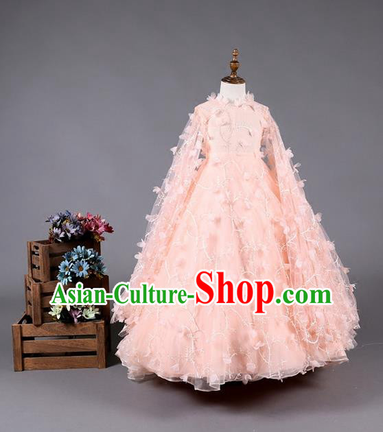 Top Grade Compere Professional Performance Catwalks Costume, Children Chorus Pink Bubble Batwing Sleeve Full Dress Modern Dance Baby Princess Modern Fancywork Dress for Girls Kids