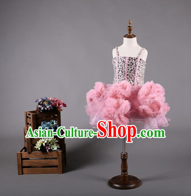 Top Grade Compere Professional Performance Catwalks Costume, Children Chorus Pink Bubble Full Dress Modern Dance Baby Princess Modern Fancywork Short Dress for Girls Kids