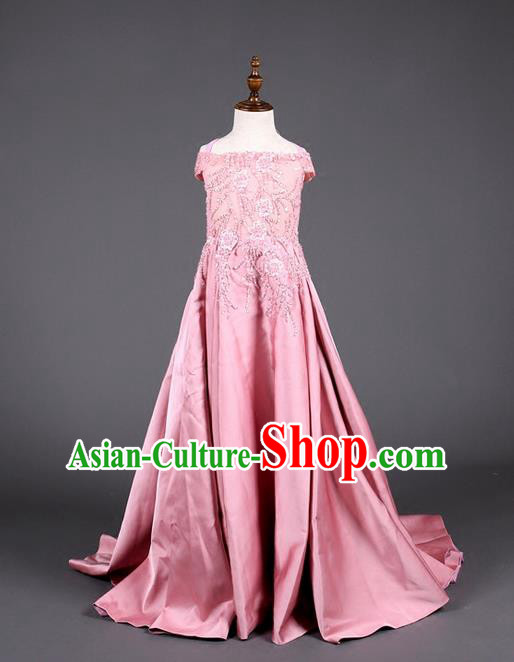 Top Grade Compere Professional Performance Catwalks Costume, Children Chorus Pink Full Dress Modern Dance Baby Princess Modern Fancywork Long Dress for Girls Kids