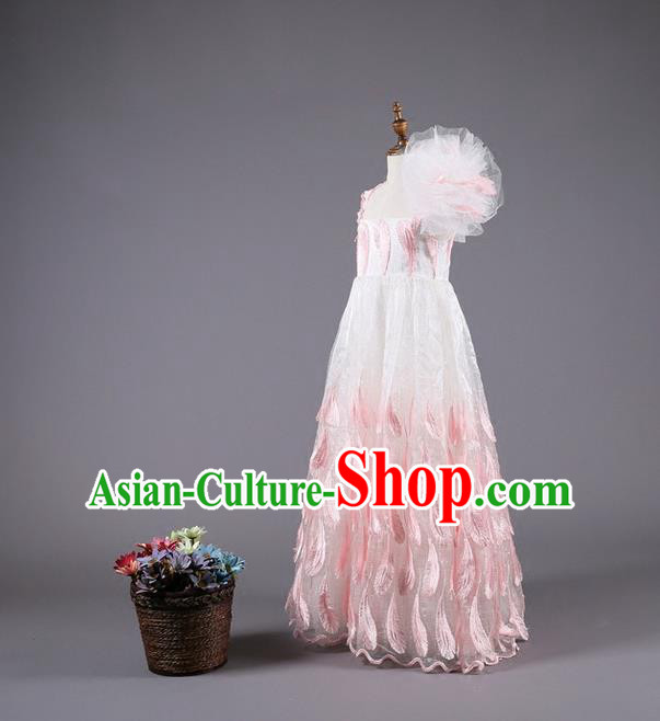 Top Grade Compere Professional Performance Catwalks Costume, Children Chorus Customize Pink One-shoulder Wedding Bubble Full Dress Modern Dance Baby Princess Modern Fancywork Long Trailing Dress for Girls Kids