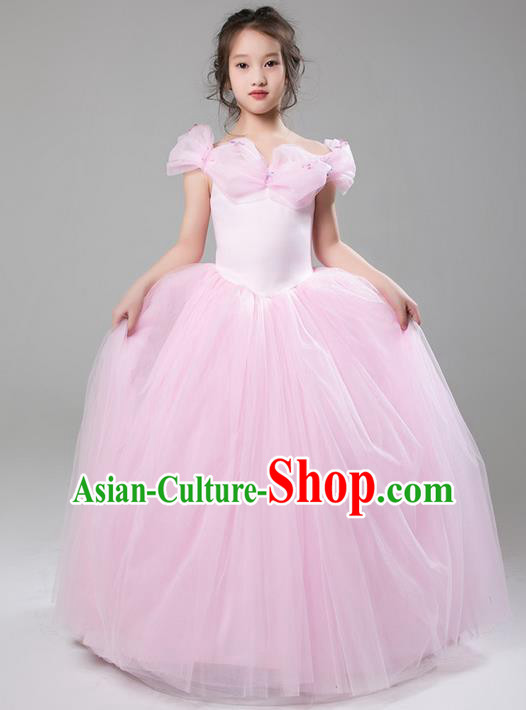 Top Grade Compere Professional Performance Catwalks Costume, Children Chorus Customize Pink Veil Cinderella Bubble Full Dress Modern Dance Baby Princess Modern Fancywork Long Ball Gown Dress for Girls Kids