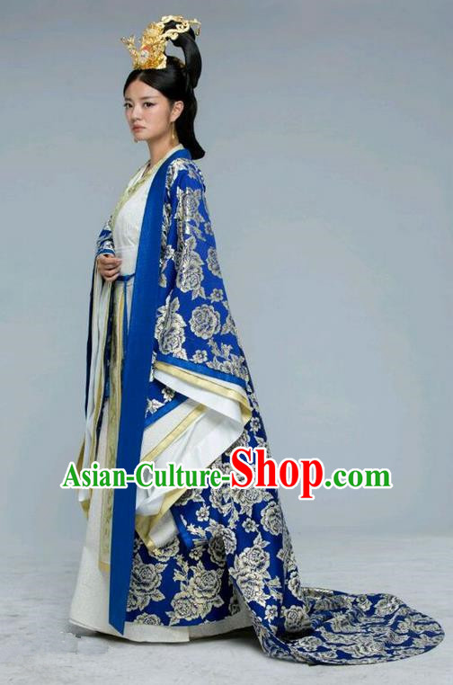 Traditional Chinese Ancient Imperial Empress Costume and Handmade Headpiece Complete Set, Chinese Northern and Southern Dynasties Queen Suit, Chinese Television Tokgo World Empress Tailing Embroidered Hanfu Clothing for Women
