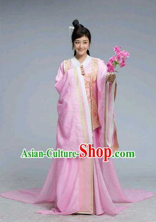 Traditional Chinese Ancient Imperial Empress Costume and Handmade Headpiece Complete Set, Chinese Northern and Southern Dynasties Princess Dress, Chinese Television Tokgo World Young Lady Tailing Embroidered Hanfu Clothing for Women