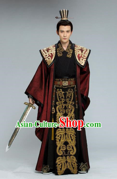 Traditional Chinese Ancient Nobility Childe Costume, Tokgo World China Northern and Southern Dynasties Prince General Hanfu Clothing and Headwear Complete Set for Men