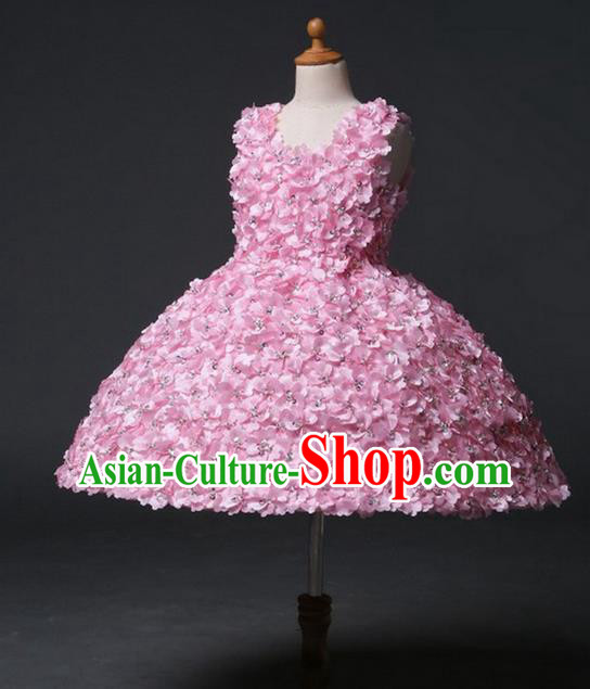 Top Grade Professional Compere Performance Catwalks Customize Costume, Children Chorus Pink Bubble Full Dress Modern Dance Modern Fancywork Little Princess Short Ball Gown for Girls Kids