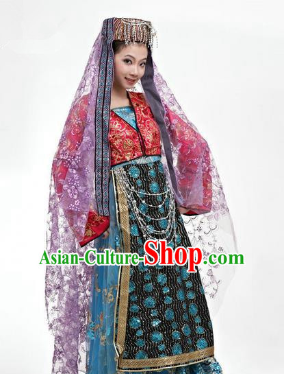 Traditional Chinese Hui Nationality Dancing Costume, Folk Dance Hui Ethnic Costume, Chinese Hui Minority Nationality Uigurian Dance Costume for Women