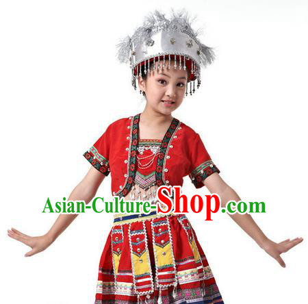 Traditional Chinese Miao Nationality Dancing Costume, Children Hmong Folk Dance Ethnic Costume, Chinese Miao Minority Nationality Dance Costume for Kids