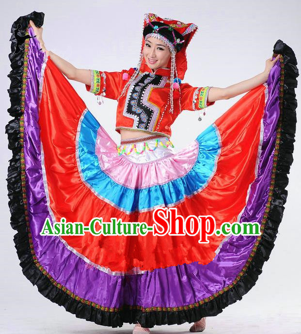 Traditional Chinese Yi Nationality Dancing Costume, Yi Zu Female Folk Dance Ethnic Big Swing Pleated Skirt, Chinese Yi Minority Nationality Embroidery Costume for Women