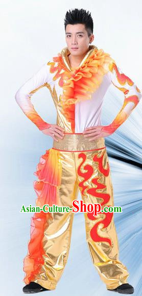 Traditional Chinese Classical Dance Yangge Lion Dance Costume, Folk Dance Drum Dance Uniform Yangko Clothing Complete Set for Men