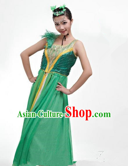 Chinese Classic Stage Performance Chorus Singing Group Dance Costumes, Opening Dance Competition Green Dress, Classic Dance Clothing for Women