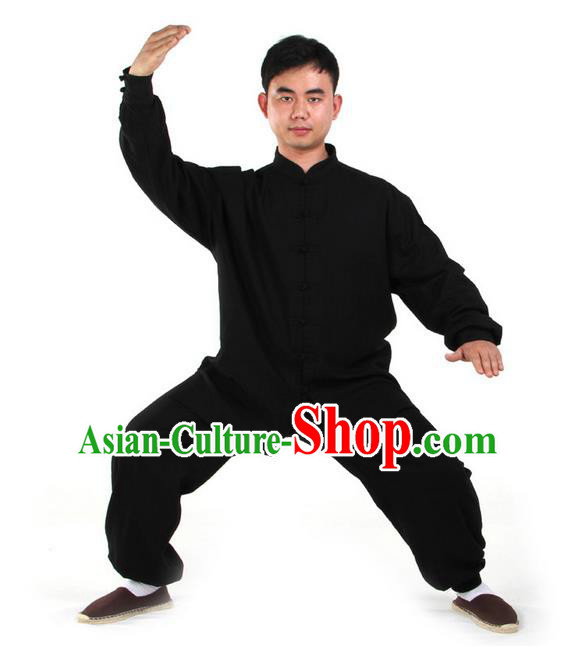 Top Kung Fu Costume Martial Arts Black Suits Pulian Clothing, Training Costume Tai Ji Uniforms Gongfu Shaolin Wushu Tai Chi Clothing for Men