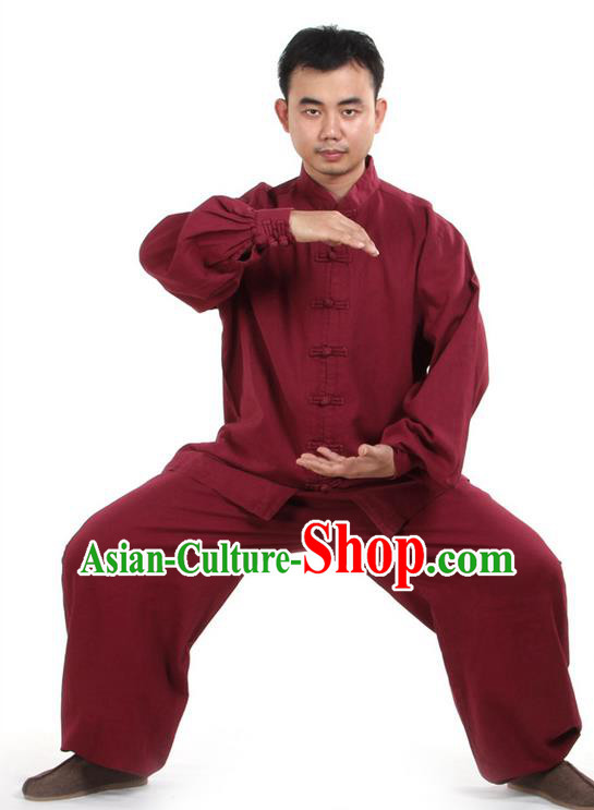 Top Kung Fu Costume Pulian Clothing Martial Arts Wine Red Suits, Training Costume Tai Ji Uniforms Gongfu Shaolin Wushu Tai Chi Clothing for Men