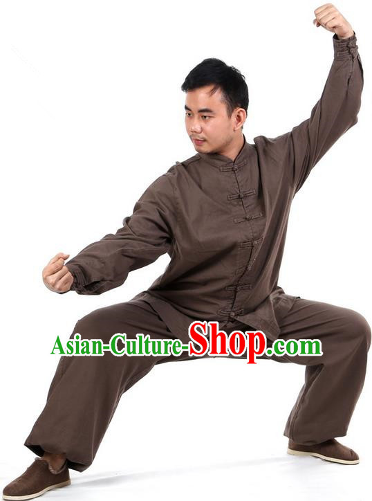 Top Kung Fu Costume Martial Arts Dark Brown Suits Pulian Clothing, Training Costume Tai Ji Uniforms Gongfu Shaolin Wushu Tai Chi Clothing for Men