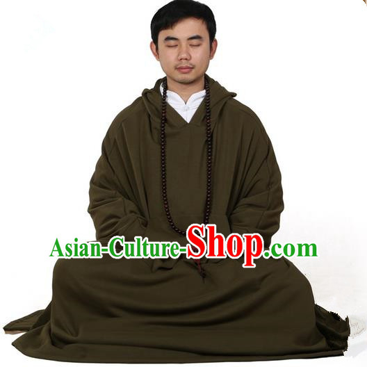 Top Kung Fu Costume Martial Arts Army Green Cloak Pulian Zen Clothing, Tai Ji Mantle Gongfu Shaolin Wushu Tai Chi Meditation Hooded Cape for Men