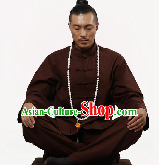 Top Grade Kung Fu Costume Martial Arts Coffee Linen Suits Pulian Zen Clothing, Training Costume Tai Ji Uniforms Gongfu Shaolin Wushu Tai Chi Clothing for Men