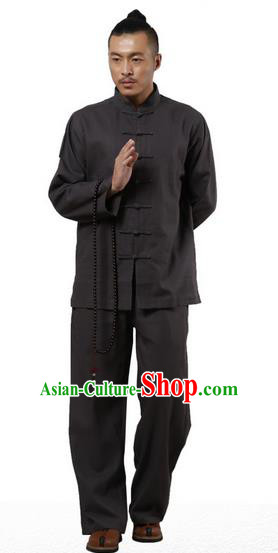 Top Grade Kung Fu Costume Martial Arts Black Linen Suits Pulian Zen Clothing, Training Costume Tai Ji Uniforms Gongfu Shaolin Wushu Tai Chi Clothing for Men