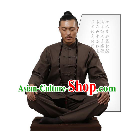 Top Grade Kung Fu Costume Martial Arts Brown Linen Suits Pulian Zen Clothing, Training Costume Tai Ji Uniforms Gongfu Shaolin Wushu Tai Chi Clothing for Men
