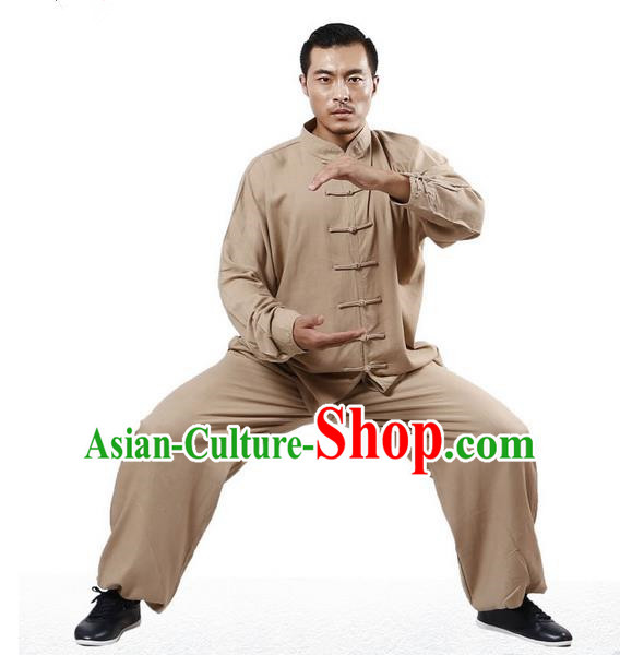 Top Grade Kung Fu Costume Martial Arts Khaki Linen Suits Pulian Zen Clothing, Training Costume Tai Ji Uniforms Gongfu Shaolin Wushu Tai Chi Plated Buttons Clothing for Men