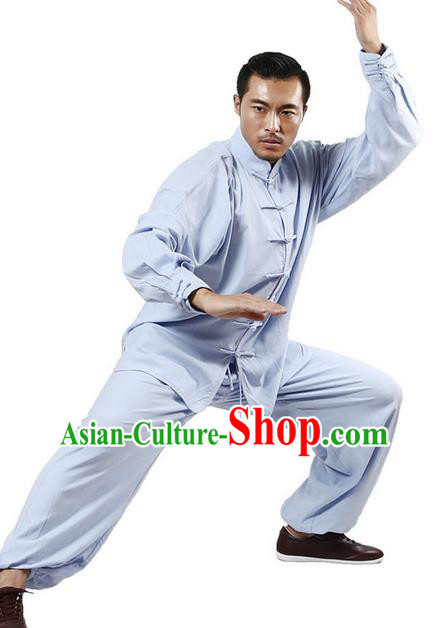 Top Grade Kung Fu Costume Martial Arts Blue Linen Suits Pulian Zen Clothing, Training Costume Tai Ji Uniforms Gongfu Shaolin Wushu Tai Chi Plated Buttons Clothing for Men