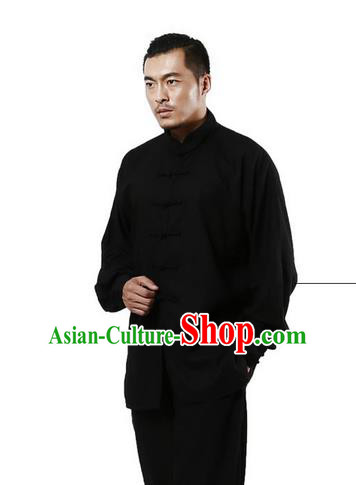 Top Grade Kung Fu Costume Martial Arts Black Linen Suits Pulian Zen Clothing, Training Costume Tai Ji Uniforms Gongfu Shaolin Wushu Tai Chi Plated Buttons Clothing for Men