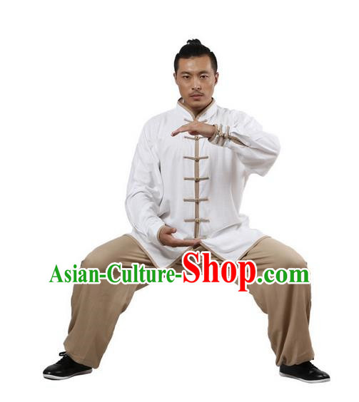 Top Grade Kung Fu Costume Martial Arts White Khaki Edge Suits Pulian Zen Clothing, Training Costume Tai Ji Uniforms Gongfu Shaolin Wushu Tai Chi Plated Buttons Clothing for Men