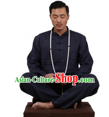 Top Grade Kung Fu Costume Martial Arts Navy Ice Silk Linen Suits Pulian Zen Clothing, Training Costume Tai Ji Uniforms Gongfu Shaolin Wushu Tai Chi Plated Buttons Clothing for Men