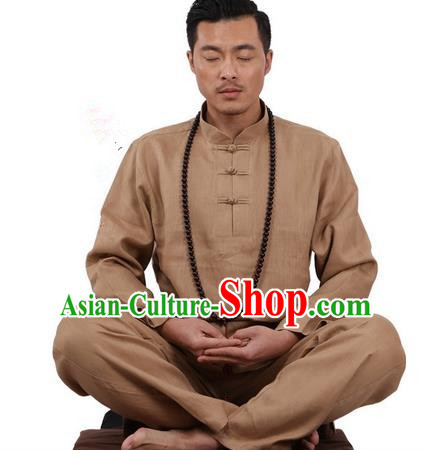 Top Grade Kung Fu Costume Martial Arts Khaki Ice Silk Linen Suits Pulian Zen Clothing, Training Costume Tai Ji Uniforms Gongfu Shaolin Wushu Tai Chi Plated Buttons Clothing for Men