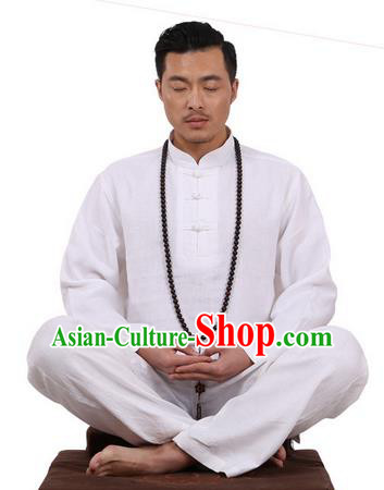 Top Grade Kung Fu Costume Martial Arts White Ice Silk Linen Suits Pulian Zen Clothing, Training Costume Tai Ji Uniforms Gongfu Shaolin Wushu Tai Chi Plated Buttons Clothing for Men