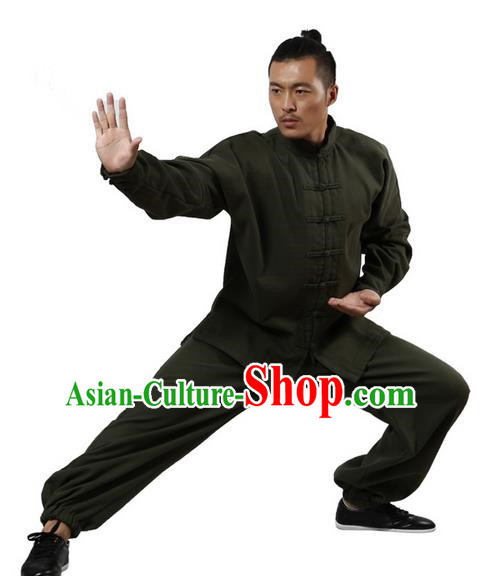 Top Grade Kung Fu Costume Martial Arts White Brushed Linen Thicken Suits Pulian Zen Clothing, Training Costume Tai Ji Uniforms Gongfu Shaolin Wushu Tai Chi Plated Buttons Clothing for Men