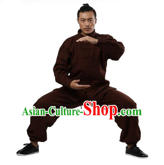 Top Grade Kung Fu Costume Martial Arts Coffee Brushed Linen Thicken Suits Pulian Zen Clothing, Training Costume Tai Ji Uniforms Gongfu Shaolin Wushu Tai Chi Plated Buttons Clothing for Men