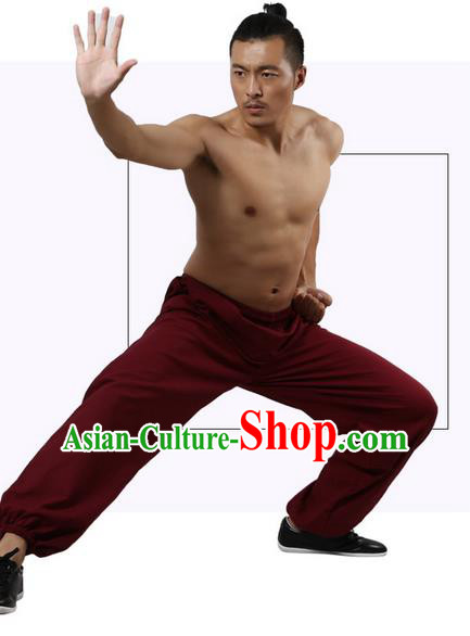 Top Grade Kung Fu Costume Martial Arts Wine Red Linen Pants Pulian Zen Clothing, Training Bloomers Gongfu Trousers Shaolin Wushu Tai Chi Plus Fours for Men