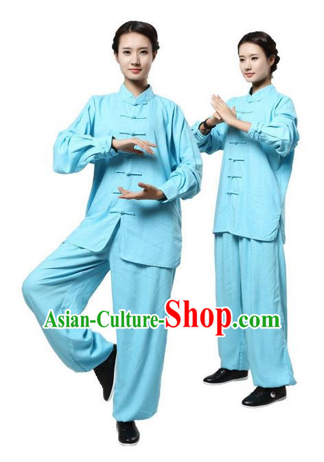 Top Grade Kung Fu Costume Martial Arts Blue Linen Suits Pulian Zen Clothing, Training Costume Tai Ji Uniforms Gongfu Shaolin Wushu Tai Chi Plated Buttons Clothing for Women