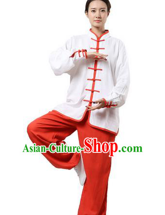 Top Grade Kung Fu Costume Martial Arts White Red Edge Suits Pulian Zen Clothing, Training Costume Tai Ji Uniforms Gongfu Shaolin Wushu Tai Chi Plated Buttons Clothing for Women