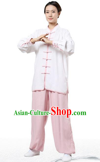Top Grade Kung Fu Costume Martial Arts White Pink Edge Suits Pulian Zen Clothing, Training Costume Tai Ji Uniforms Gongfu Shaolin Wushu Tai Chi Plated Buttons Clothing for Women