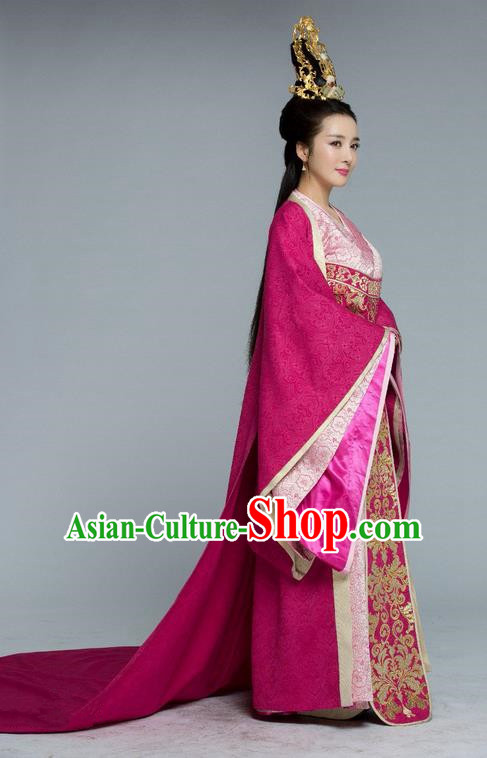 Traditional Chinese Ancient Imperial Empress Costume and Handmade Headpiece Complete Set, Chinese Northern and Southern Dynasties Television Tokgo World Imperial Consort Tailing Embroidered Hanfu Clothing for Women