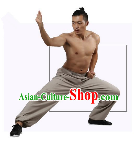 Top Grade Kung Fu Costume Martial Arts Grey Linen Pants Pulian Zen Clothing, Training Bloomers Gongfu Trousers Shaolin Wushu Tai Chi Plus Fours for Men