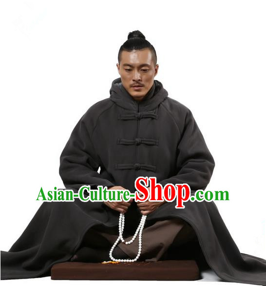 Top Kung Fu Costume Martial Arts Deep Grey Cloak Pulian Clothing, Tai Ji Mantle Gongfu Shaolin Wushu Tai Chi Meditation Plated Buttons Cape for Women for Men
