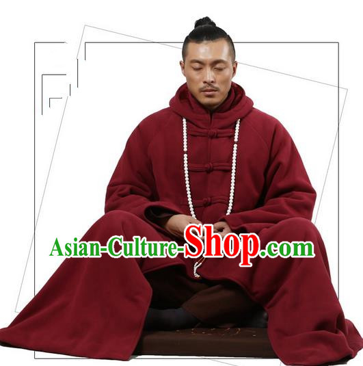 Top Kung Fu Costume Martial Arts Wine Red Cloak Pulian Clothing, Tai Ji Mantle Gongfu Shaolin Wushu Tai Chi Meditation Plated Buttons Cape for Women for Men