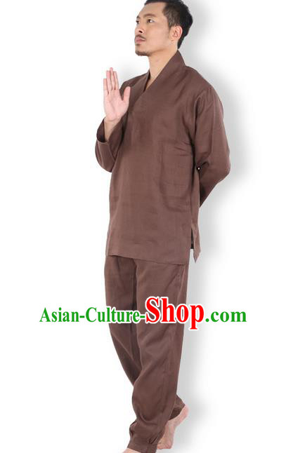 Top Grade Kung Fu Costume Martial Arts Linen Meditation Suits Pulian Zen Clothing, Training Costume Tai Ji Coffee Uniforms Gongfu Shaolin Wushu Tai Chi Clothing for Men
