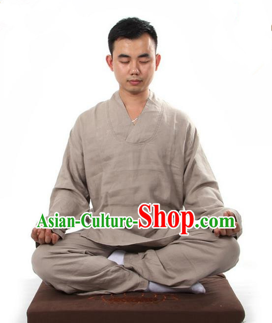 Top Grade Kung Fu Costume Martial Arts Linen Meditation Suits Pulian Zen Clothing, Training Costume Tai Ji Khaki Uniforms Gongfu Shaolin Wushu Tai Chi Clothing for Men