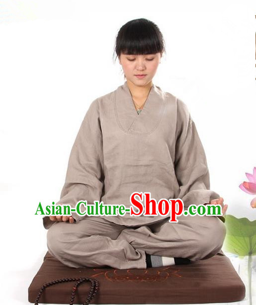 Top Grade Kung Fu Costume Martial Arts Linen Meditation Suits Pulian Zen Clothing, Training Costume Tai Ji Khaki Uniforms Gongfu Shaolin Wushu Tai Chi Clothing for Women