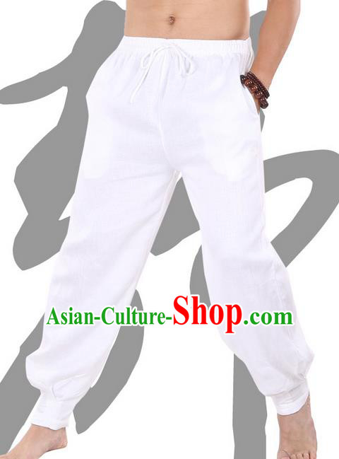 Top Grade Kung Fu Costume Martial Arts White Linen Pants Pulian Zen Clothing, Training Bloomers Gongfu Trousers Shaolin Wushu Tai Chi Meditation Plus Fours for Men