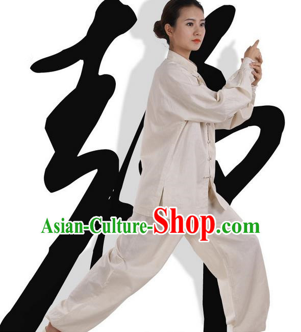 Top Grade Kung Fu Costume Martial Arts Army Beige Linen Suits Pulian Zen Clothing, Training Costume Tai Ji Meditation Uniforms Gongfu Wushu Tai Chi Plated Buttons Clothing for Women