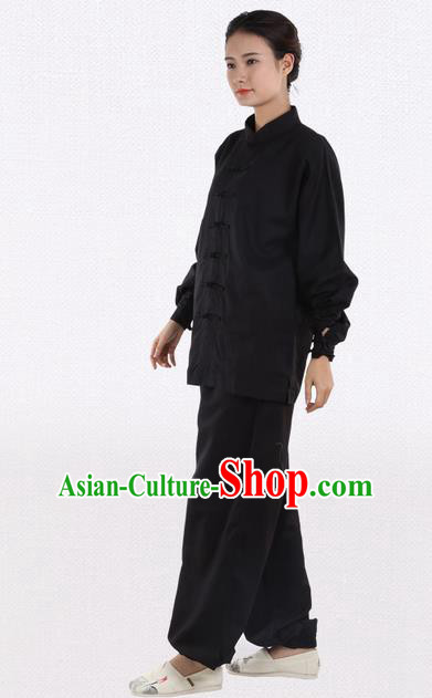 Top Grade Kung Fu Costume Martial Arts Black Linen Suits Pulian Zen Clothing, Training Costume Tai Ji Meditation Uniforms Gongfu Wushu Tai Chi Plated Buttons Clothing for Women